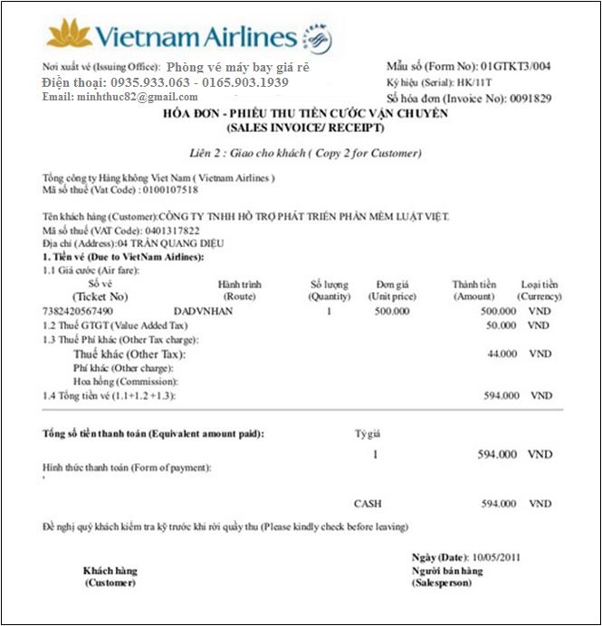 Vé điện tử của Vietnamairline là hóa đơn hợp pháp